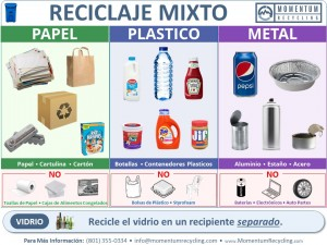 Mixed Recycling Bin Sign - Spanish