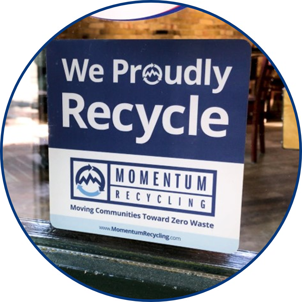 We Proudly Recycle Window Decal